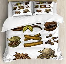 cocoa duvet cover set king size natural treats cinnamon sticks anise star cardamom clove poppy heads image decorative 3 piece bedding set with 2 pillow