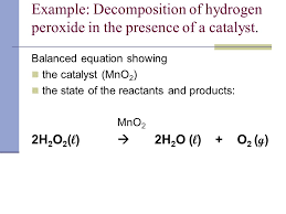 example decomposition of hydrogen peroxide in the presence of a catalyst