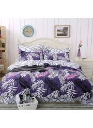 4 piece leaves design duvet cover set cotton purple white black single