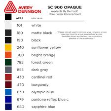 Avery 900 Supercast Colour Chart