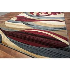 blue and red area rug lovely modern beige brown wave swirls living room