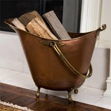 hopewell copper firewood basket on feet antique copper