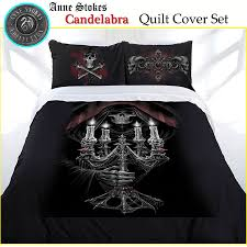 3 pce candelabra gothic fantasy quilt cover set anne stokes double from black and white gothic