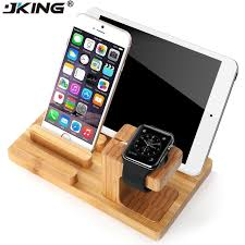 jking real bamboo wood desktop stand for ipad tablet bracket docking holder charger for iphone charging