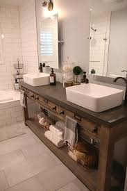 reclaimed wood double vanity with a concrete countertop for more durability