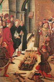 spanish inquisition new world encyclopedia spanish painting from the 1400s by pedro berruguete showing the miracle of fanjeaux according to the libellus of of saxony the books of the cathars