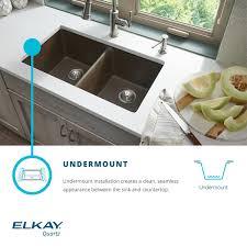 Elkay Elgu3322gs0 Greystone Gourmet 33 Double Basin Granite