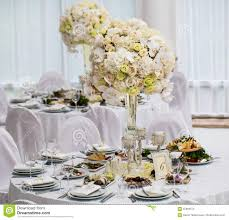 Bride Groom Table Decoration Table Set For Bride And Groom Decorated Wedding Stock Photo