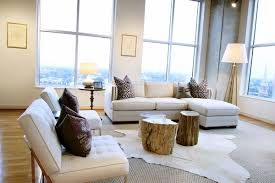 contemporary living room decorating ideas white cowhide area rug