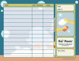 Printable Chart For Chores Reward Points Kid Pointz