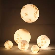 modern artistic white acrylic globe moon shaped led chrome pendant light fixture