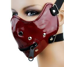Black and red bondage mask