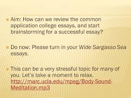 the college application essay unit ppt video online  aim how can we review the common application college essays and start brainstorming for