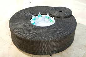 source outdoor circa round wicker coffee table with ice bucket storage baskets