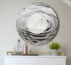 silver black abstract water inspired metal wall art mirror handcrafted modern circle mirror accent 3d contemporary functional art on metal wall art mirror uk with silver abstract water inspired metal wall art mirror handcrafted