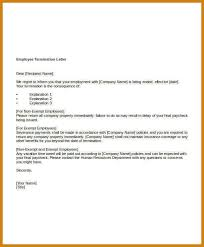 job termination letters termination of employment letter example free termination letter
