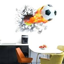 boys room wall decor football through wall stickers for kids room home decoration wall decals art boys room wall decor