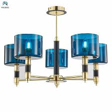 nordic luxury blue glass fabric lampshades led chandelier modern hanging chandelier foyer re e14 luminarias deco lamparas silver chandelier blue