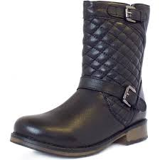 Lotus Monroe   Black Leather Biker Boots With Quilted Top   Mozimo & Monroe Modern Quilted Top Biker Boots In Black Leather Adamdwight.com