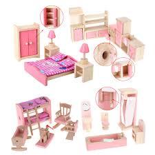 cheap dollhouse furniture. 4 Set Dollhouse Furniture Kid Toy Bathroom Room Bedroom  Kitchen Classic Toys Pretend Cheap Dollhouse Furniture H