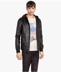 h m hooded leather jacket