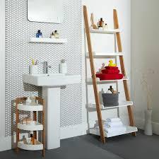 Bathroom  Ladder Shelf Bathroom Modern Double Sink Bathroom - Modern bathroom shelving