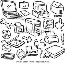 vector office supply doodle art drawing office