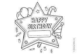 Happy Birthday Printable Star Coloring Pages