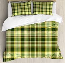 olive green duvet cover set quilt pattern traditional scottish design checd geometrical decorative bedding set with pillow shams dark green yellow