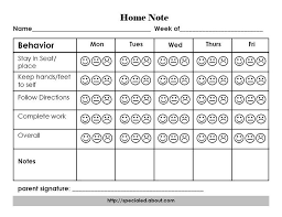 Performance Chart For Students A Home Note Program To Support Positive Student Behavior And
