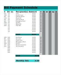 Bill Schedule Template Bill Pay Schedule Template Luxury Daily Work