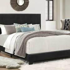 details about king size bed frame faux leather upholstered headboard bedroom platform black