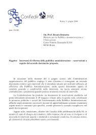 On. Prof. Renato Brunetta Ministro per la Pubblica Amministrazione e  l'Innovazione Corso Vittorio Emanuele II,116 00186 Roma O