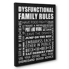 dysfunctional family rules home décor canvas wall art paper blast with regard to family rules