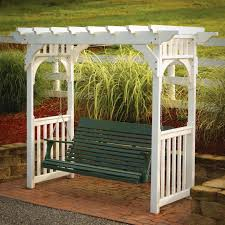 white wooden swing canopy frame with chain and green wooden seat plus arm also