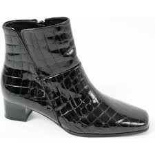 bassanio crocodile finish patent leather ankle boot in black