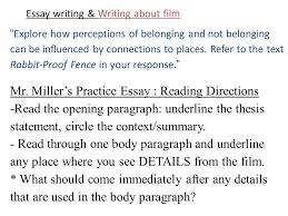 essay writing writing about film part the return brought to 3 essay