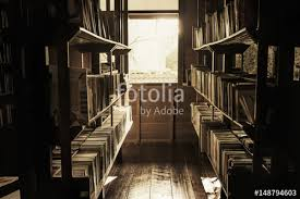 in the old library the books on the shelves were cluttered the light shining