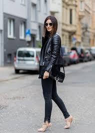 motorcycle jacket black jeans and high heels