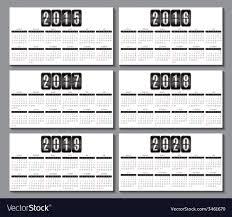 Calendar Grid For 2015 2016 2017 2018 2019 2020