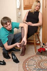Blackpantyhose blonde mature young guy