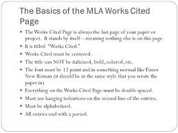 Cited Works Mla Format The Basics Citing In Mla Format What Is A Works Cited Page And Why