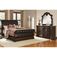 King Sleigh Bed Bedroom Sets Monticello 6 Piece King Sleigh Bedroom Set Pecan American