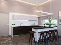 Neutral Kitchen Round Simple Bar Stools Pendant Light Neutral Kitchen Design Ideas