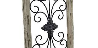 rustic wrought iron wall decor inspirational distressed wooden tan frame wrought iron fleur de lis wall