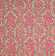 Pink Lime Damask Fabric Shocking Hot Green Design Cotton