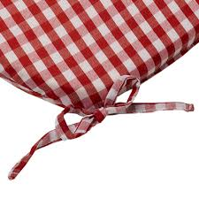 tie on rounded gingham chair seat pad cushion outdoor garden dining checked
