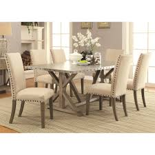 Metal Top Dining Tables Coaster Webber 6pc Metal Top Dining Table Set In Driftwood Finish