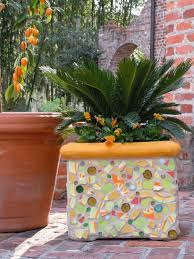 ... Cool Ideas To Create Small Garden Decoration With Mosaic Plant Pot :  Cute Square Mosaic Plant ...