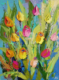 pink and yellow tulips palette knife oil painting painting 40x30x0 2 cm